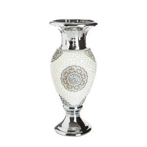 Keramická váza s perlami SWAN 11x10x28 cm (váza v štýle glamour)
