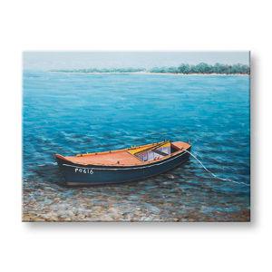 Maľovaný obraz na stenu LOĎKA 1 dielny CWFBC032 - 120x90 cm (maľované obrazy)