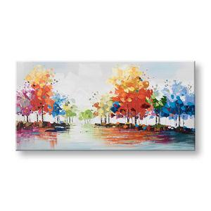 Maľovaný obraz na stenu STROMY 1 dielny CWFTR026 - 140x70 cm (maľované obrazy)